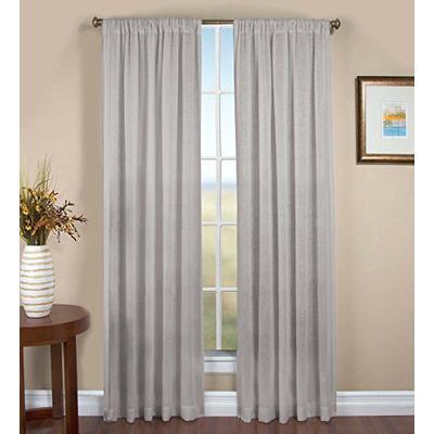 Single Sheer Linen Window Curtain Panel with Rod Pocket, 52 W x 84 L - Gray