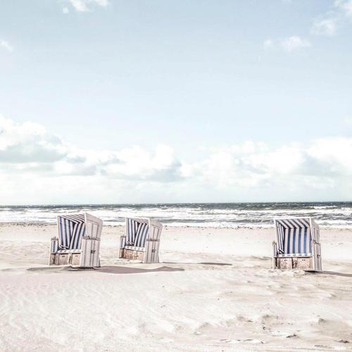 Reinders Glasbild Tag im Strandkorb weiß Glasbilder Bilder Bilderrahmen Wohnaccessoires