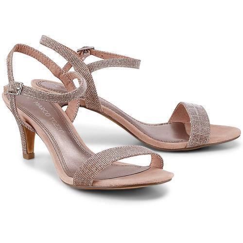 MARCO TOZZI, Glitzer-Sandalette in bronze, Sandalen für Damen Gr. 39