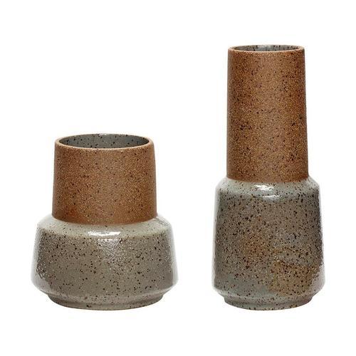 Hübsch Stein Vasen Set Braun/Grün (2er-Set)