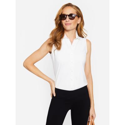 J.McLaughlin Women's Betty Sleeveless Shirt White Solid, Size Large
