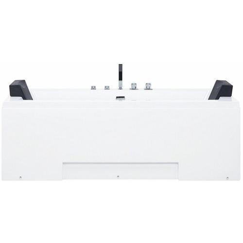 Whirlpool-Badewanne Weiß 170 x 75 cm mit Farblichttherapie Wasserfall Modern