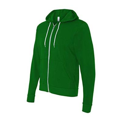 Bella 3739 Unisex Poly-Cotton Fleece Full-Zip Hoodie - Kelly, Extra Small