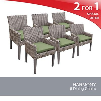 TK Classics Oasis 6 Piece Dining Chairs with Arms, Cilantro