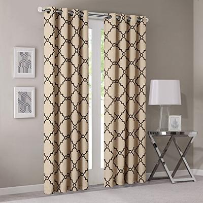 "Madison Park Saratoga Fretwork Print Grommet Top Window Curtain Khaki 95"" Panel"
