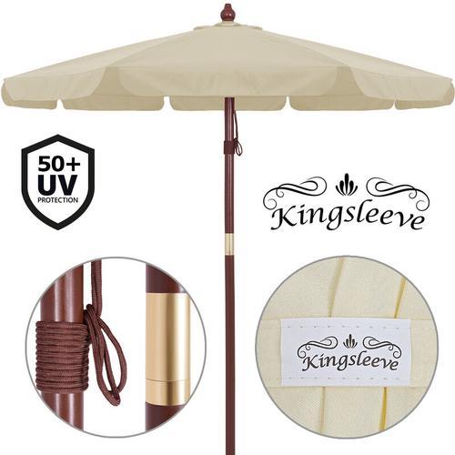 Sonnenschirm Holz Ø330cm UV-Schutz 40+ Sonnenschutz Marktschirm Gartenschirm creme