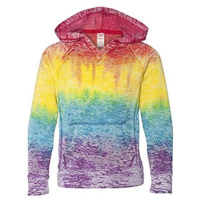 MV Sport Girls V-Notch Sweatshirt. 1162Y - Large - Rainbow Stripe