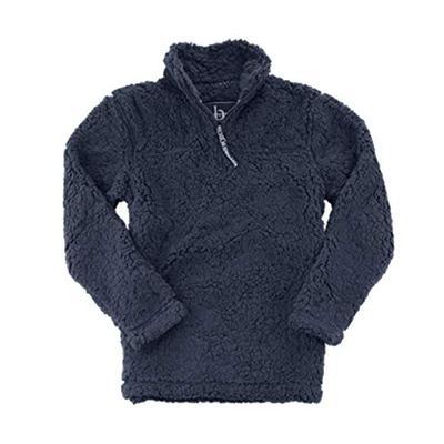 boxercraft Adult Quarter Zip Sherpa Pullover-Navy-Large