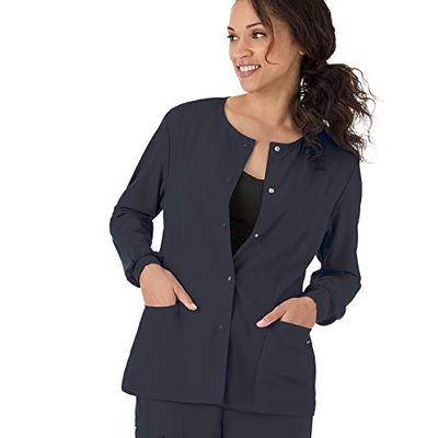 Classic Fit Collection by Jockey Women's Round Neck Solid Scrub Jacket Large Charcoal