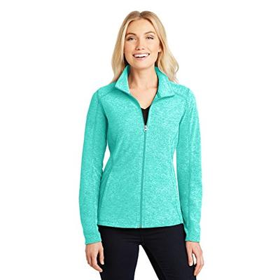 Port Authority Ladies Heather Microfleece Full-Zip Jacket, Aqua Green Heather, Medium