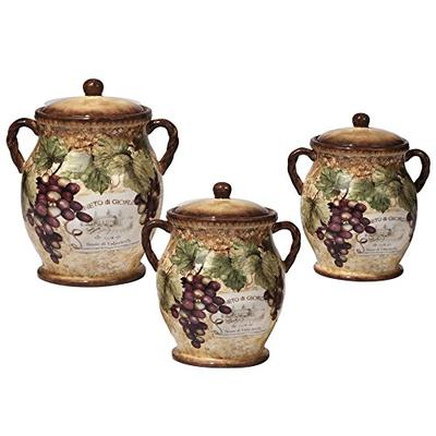 Certified International 16008 3 Piece Gilded Wine Canister Set Multicolored